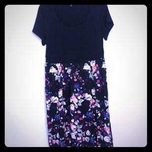 Torrid Pullover Black Floral Colorblock Dress